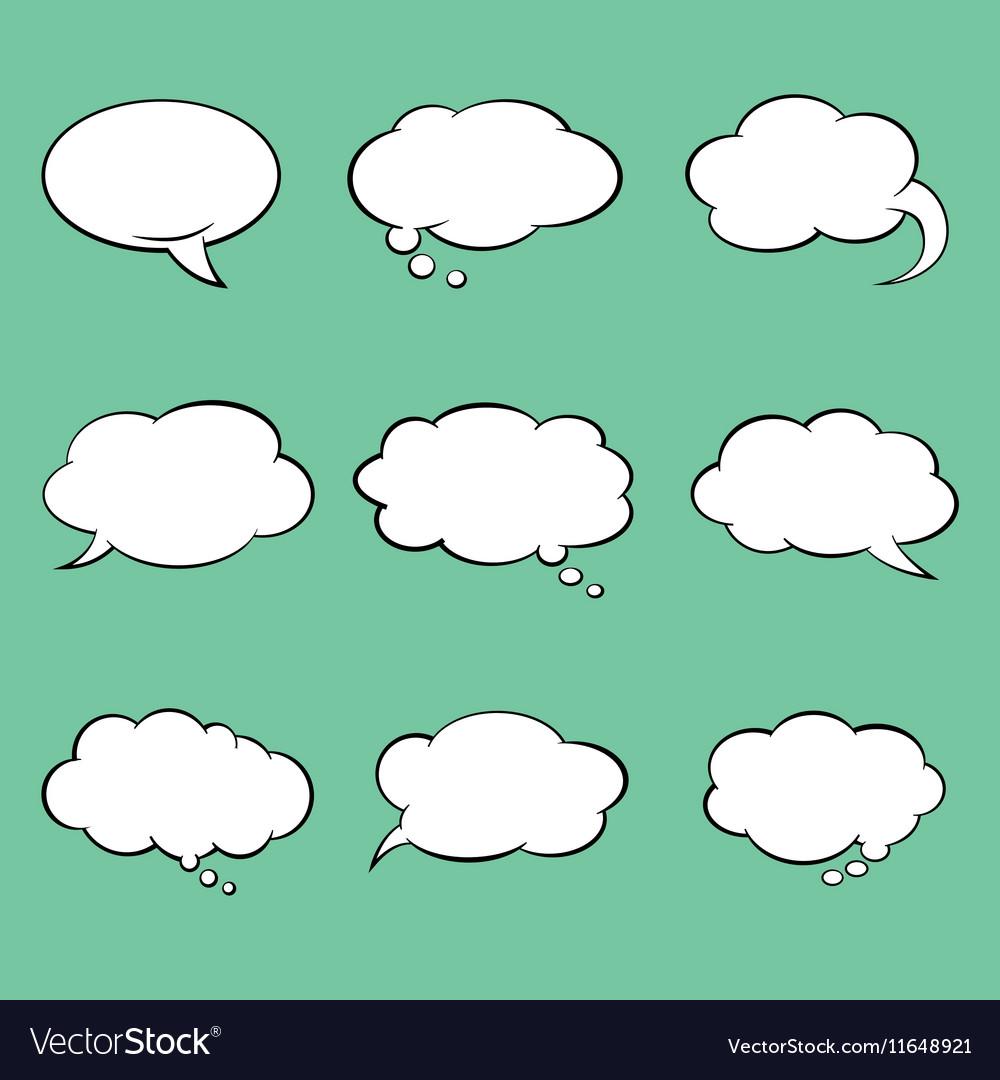 Set of blank comic style speech bubbles