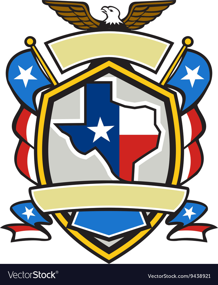 Texas state map flag coat arms retro