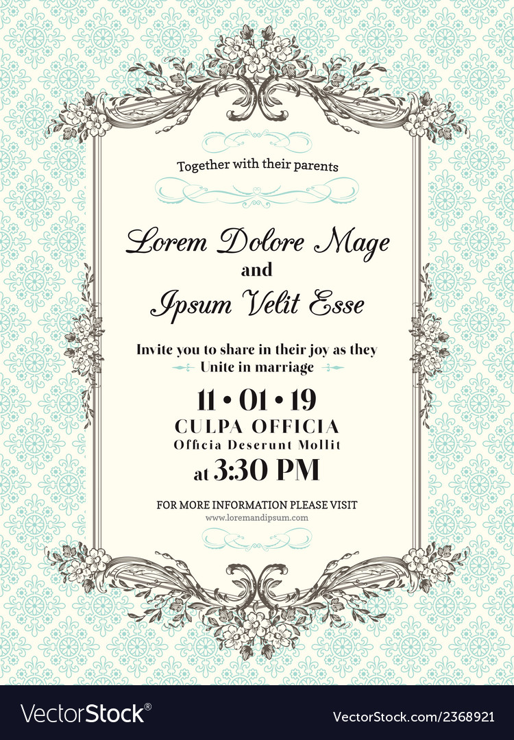Vintage Wedding Invitation Border And Frame Vector Image