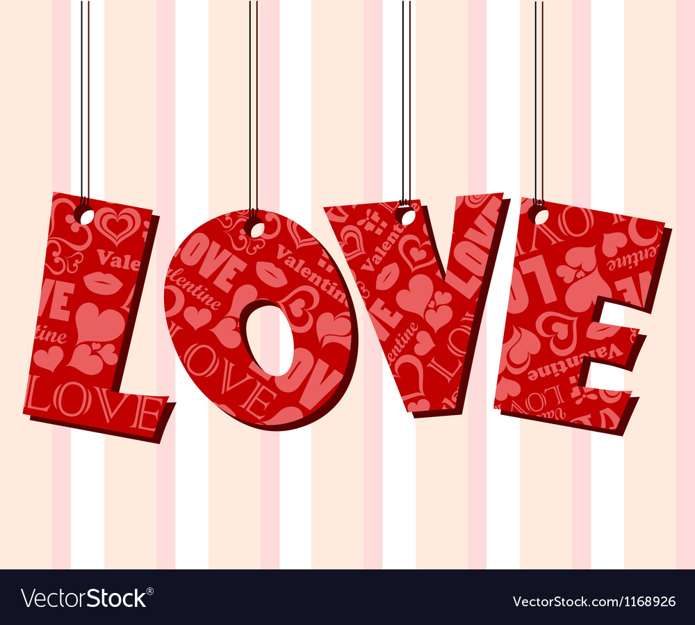 Abstract Valentine text frame with hanged letters