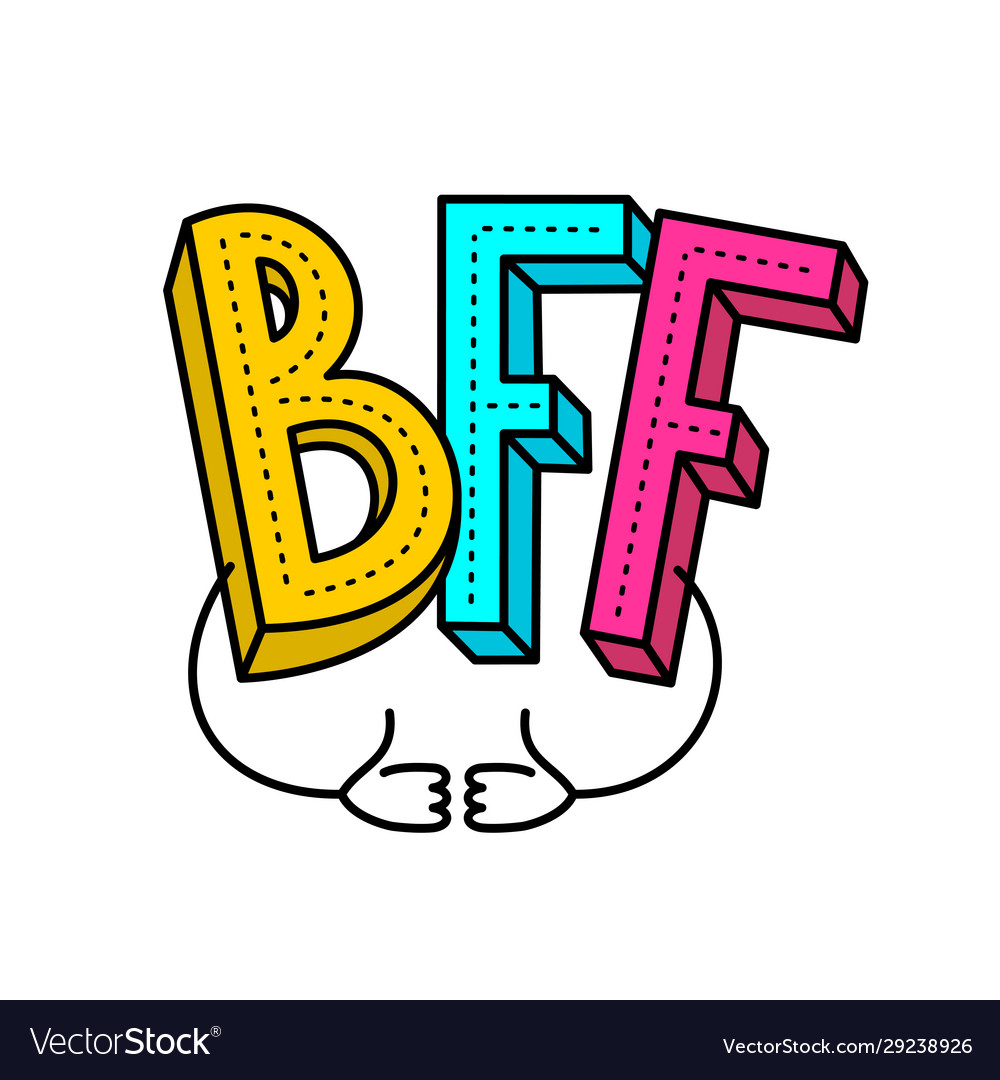 Bff - best friends forever colorful logo with two
