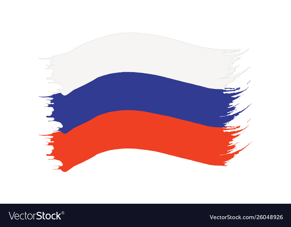 Brushstroke painted flag russia