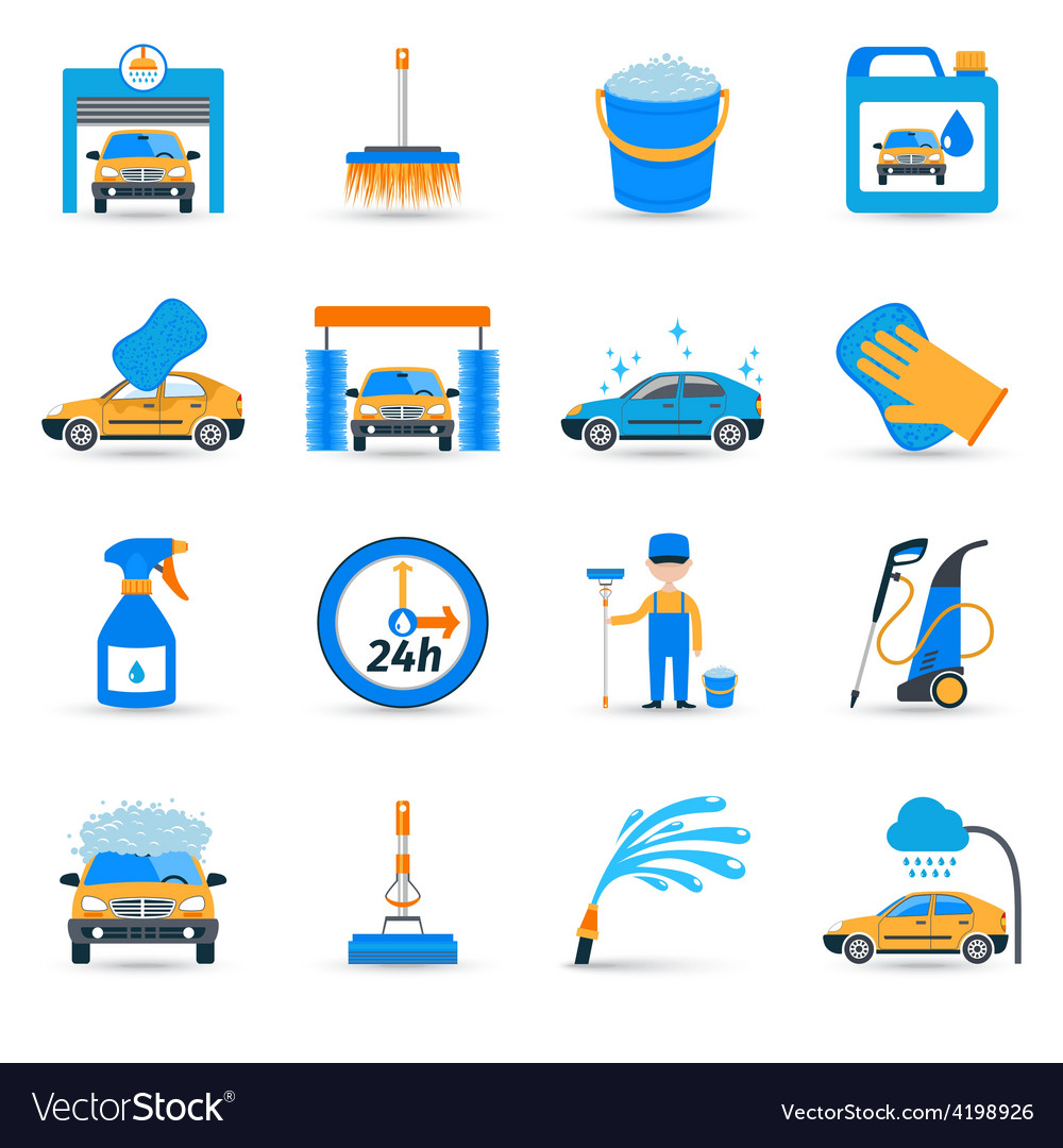 Car wash service icons set vector image