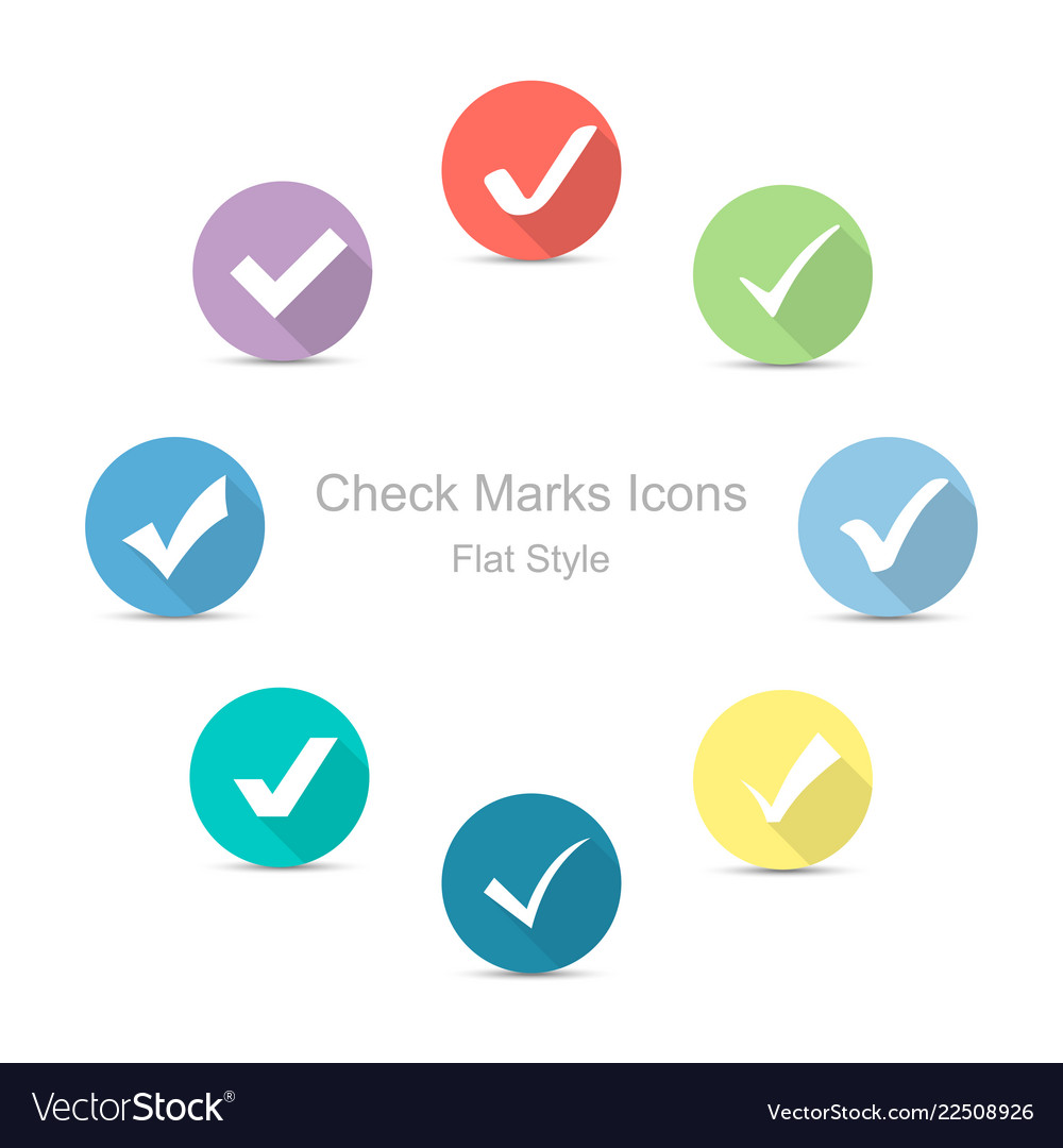 Check marks icons in flat style set of check
