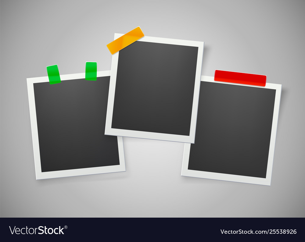 Collection blank photo frames with adhesive
