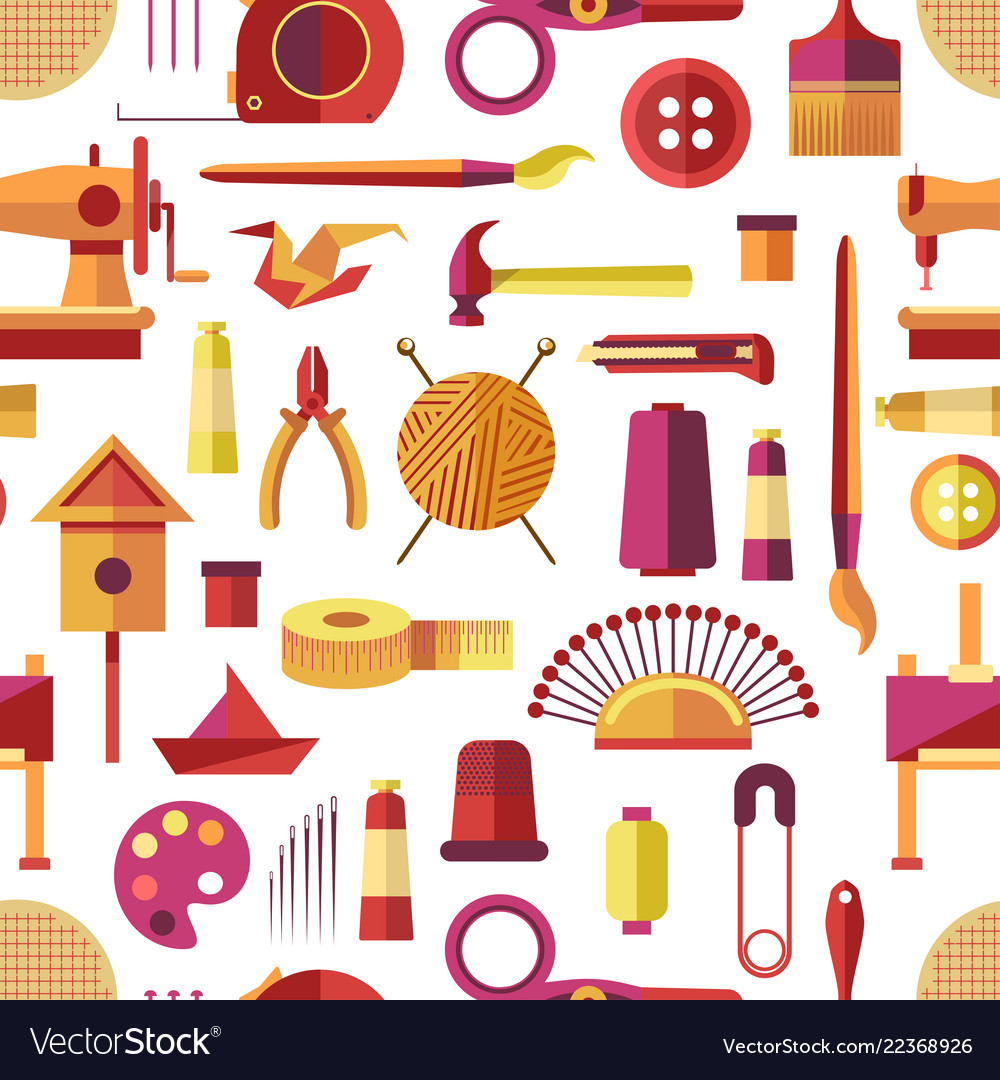 Craft Tools And Handmade Instruments Hobby Items Vector Image