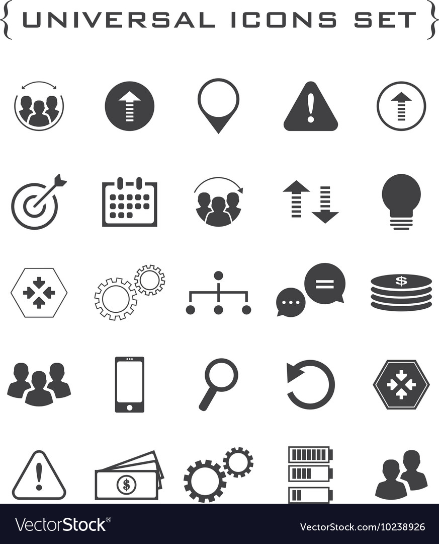 Flat business and technology icon set