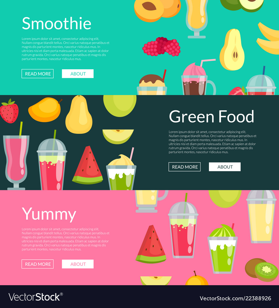 Flat smoothie elements web banner templates