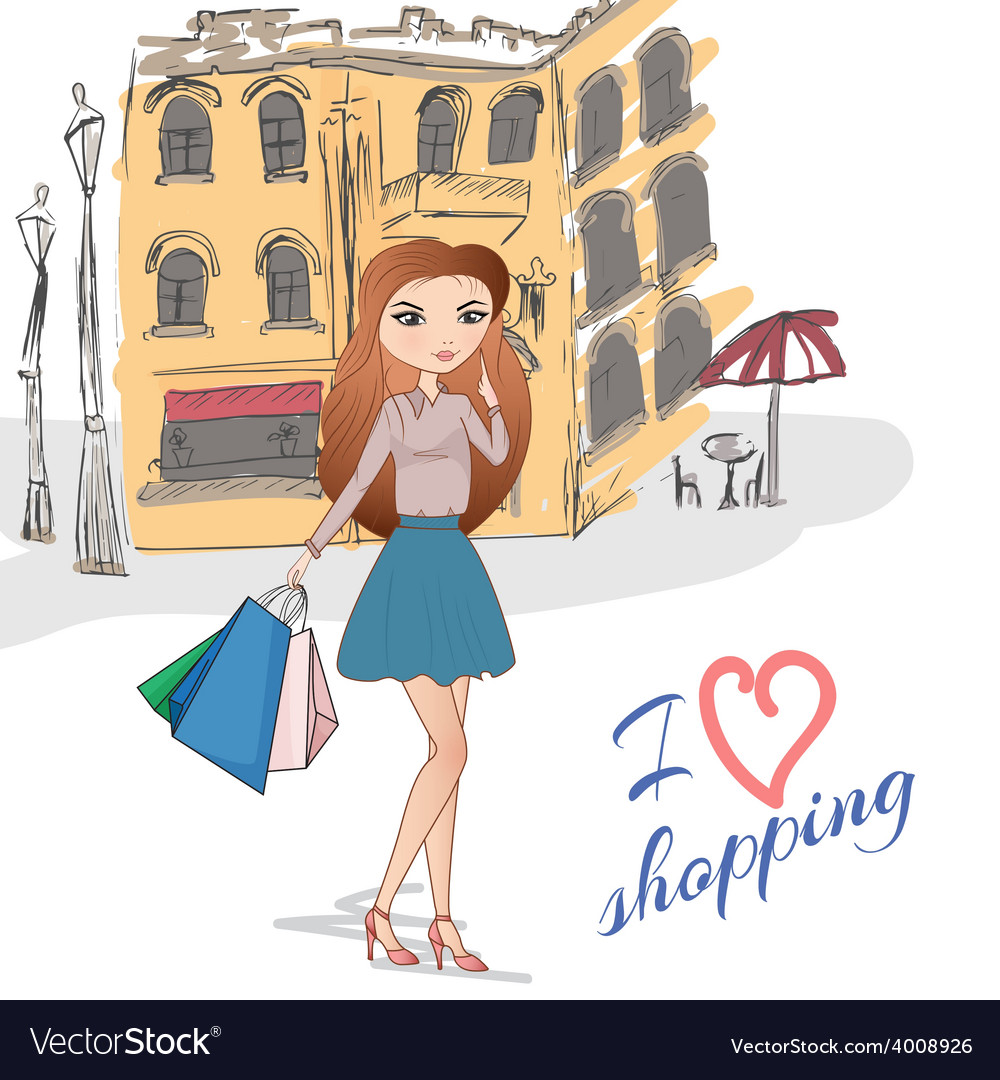 Girl with shopping bags on the street