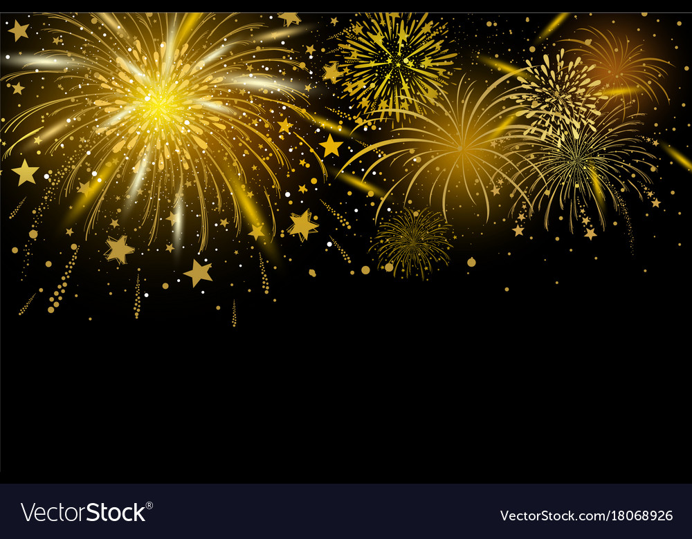 Gold Fireworks On Black Background Royalty Free Vector Image