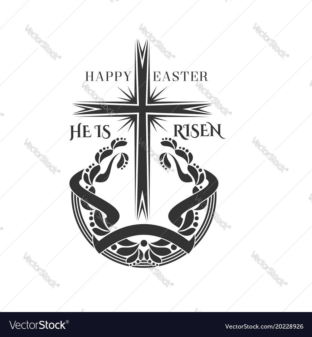 Happy easter cross and laurel icon