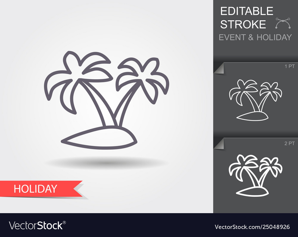 Island with palm trees line icon with editable