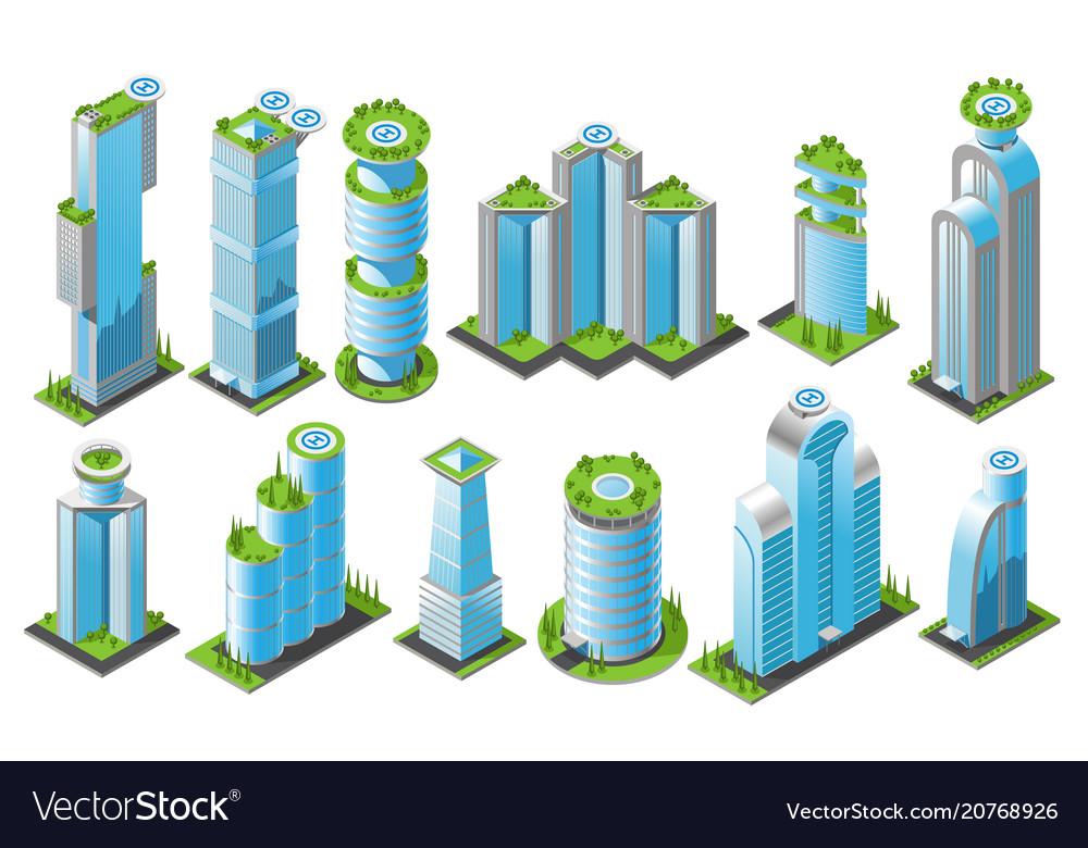 Isometric futuristic skyscrapers icon set