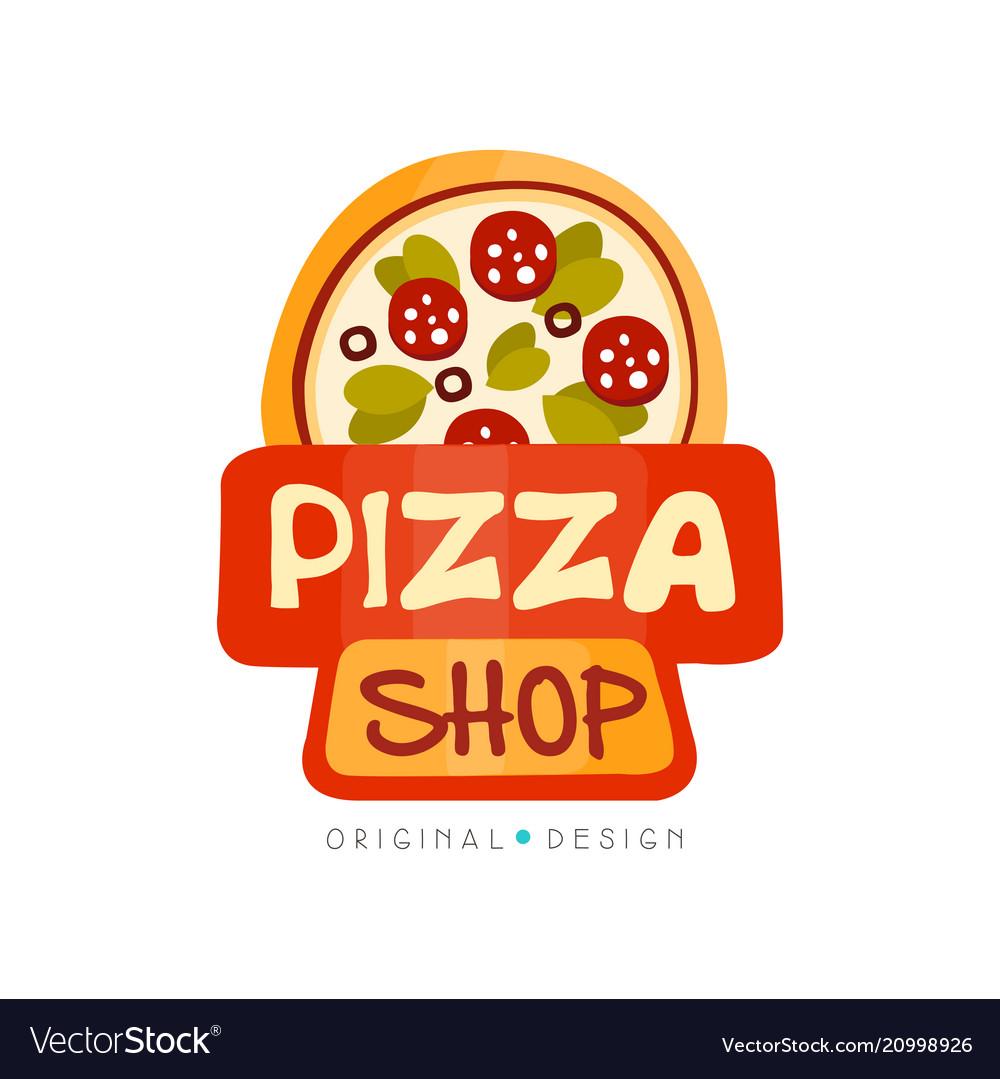 Pizza shop logo design template label of pizza