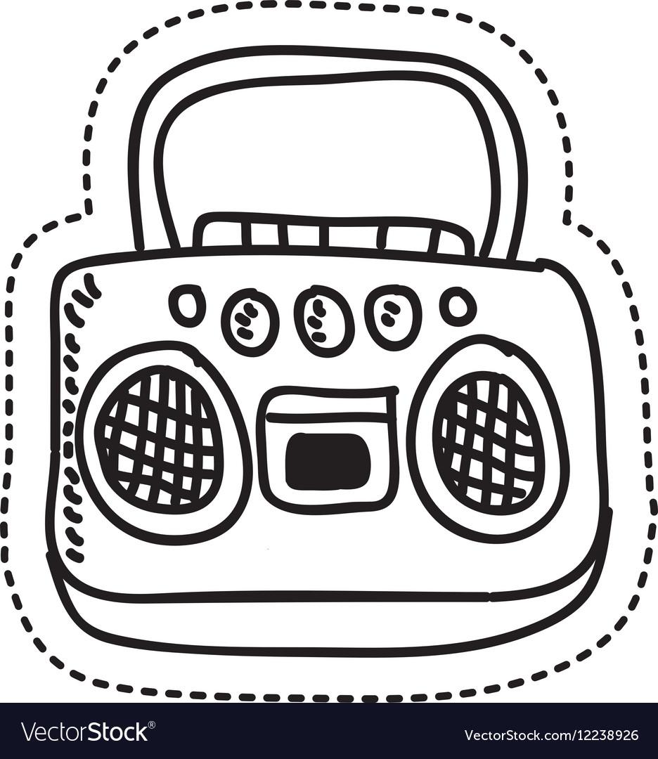 Radio retro style drawing