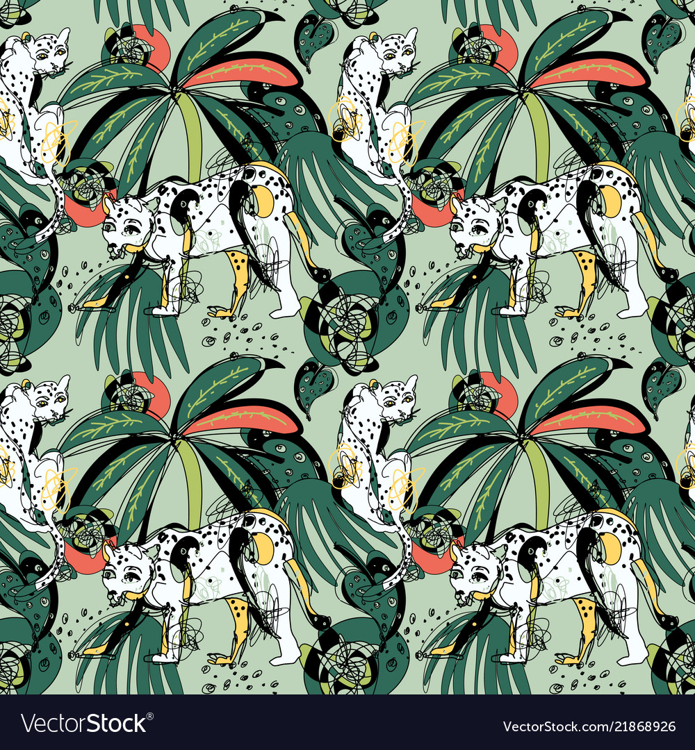 Seamless pattern with leopards and tropical leaves