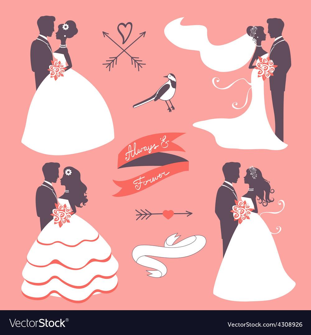 Set of elegant wedding couples in silhouette