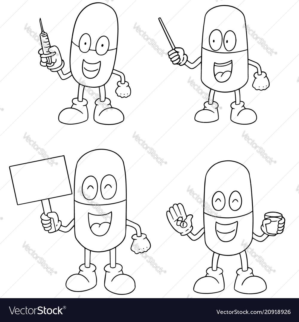 Set of medicine capsule cartoon