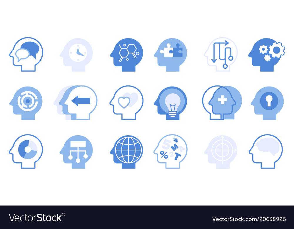 Thoughts inside head big set creative human mind vector image