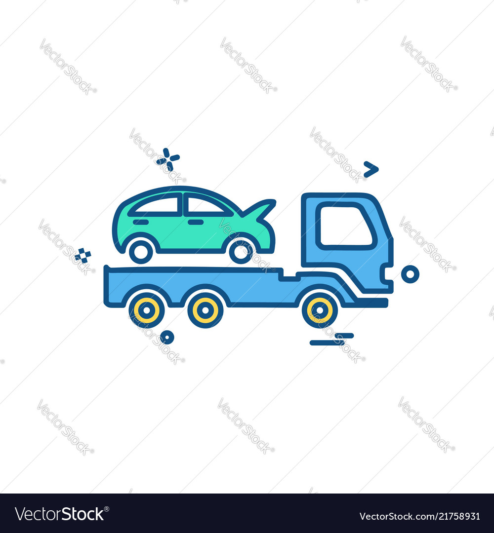 Auto insurance car tow truck icon design