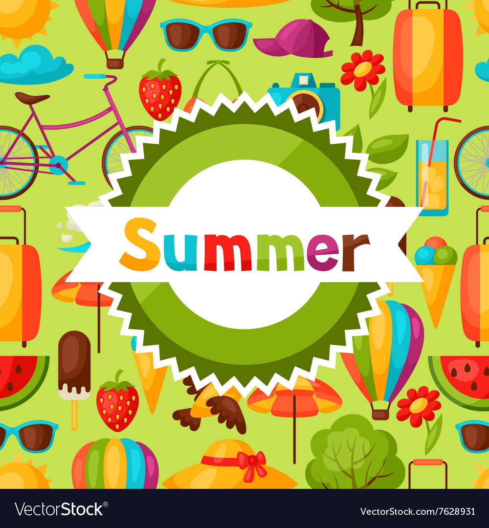 Background with stylized summer objects Design