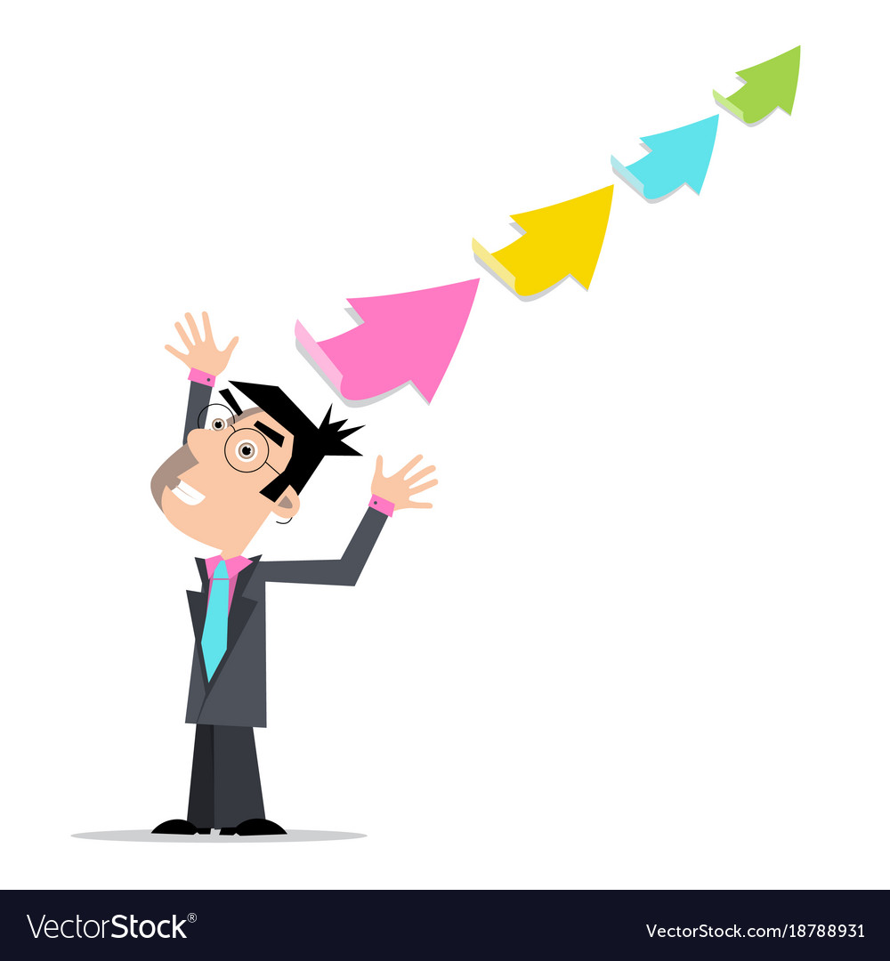 Businessman with colorful arrows vector image