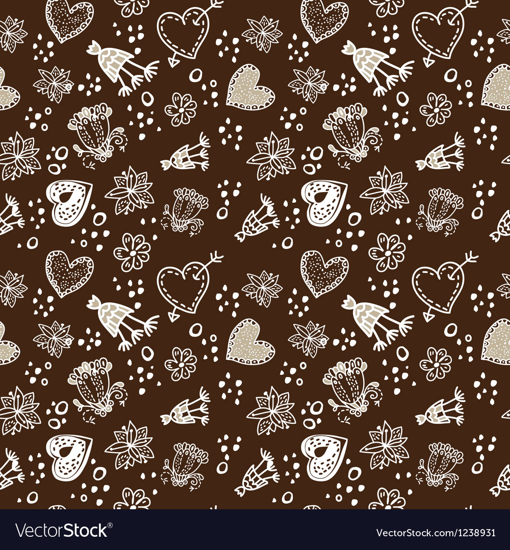Doodle floral seamless pattern sepia dark and