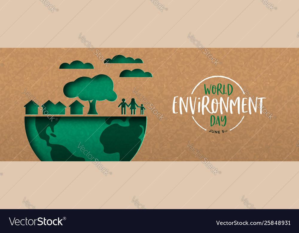 Environment day banner green cutout eco city