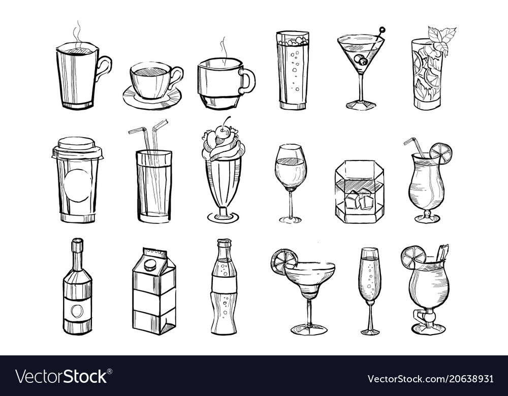 Hand drawn drinks and alcoholic cocktails big set