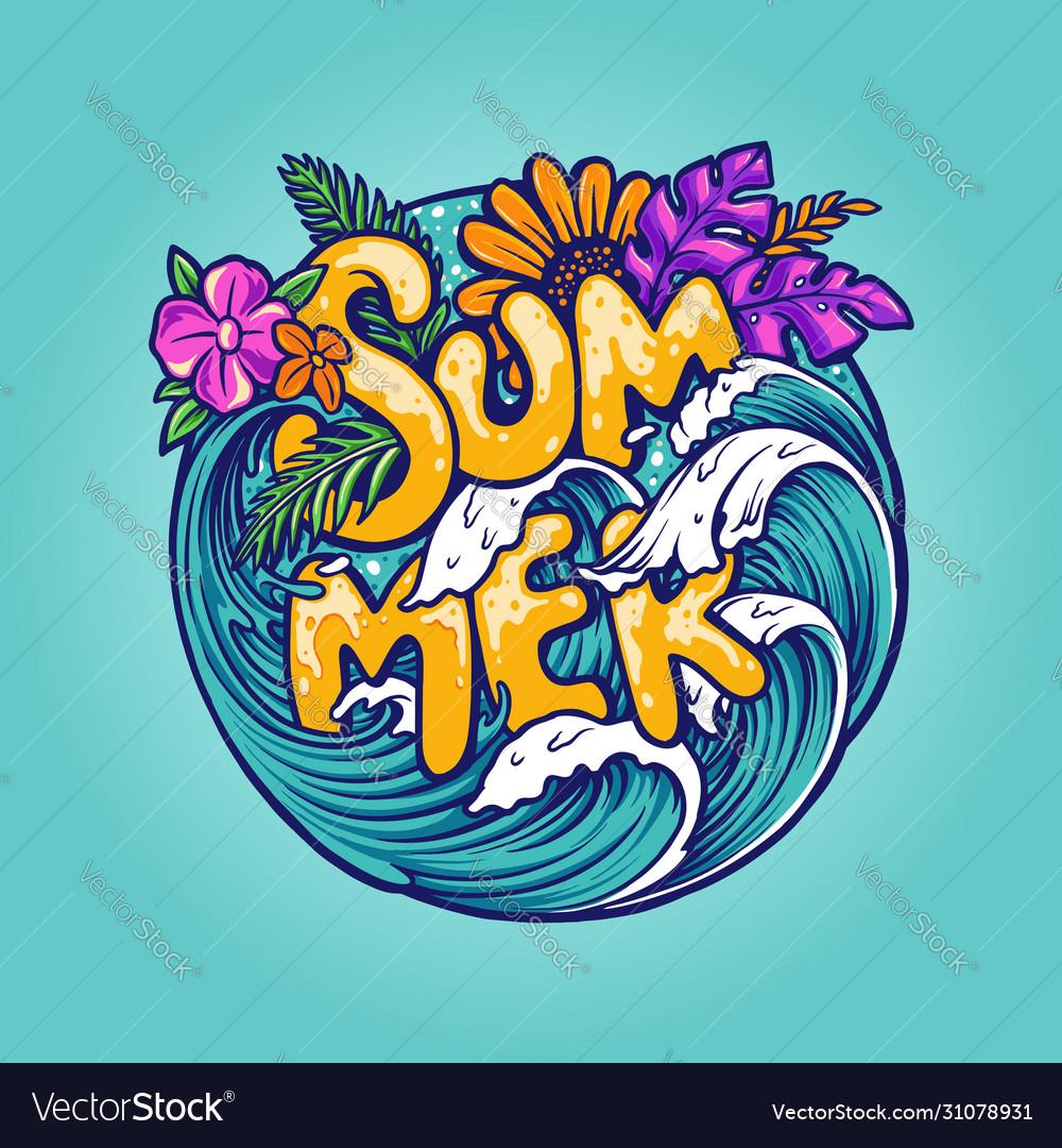 Hello summer tropical beach concept