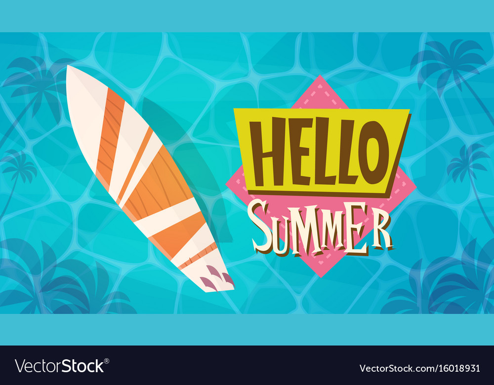 Hello summer vacation sea travel retro banner