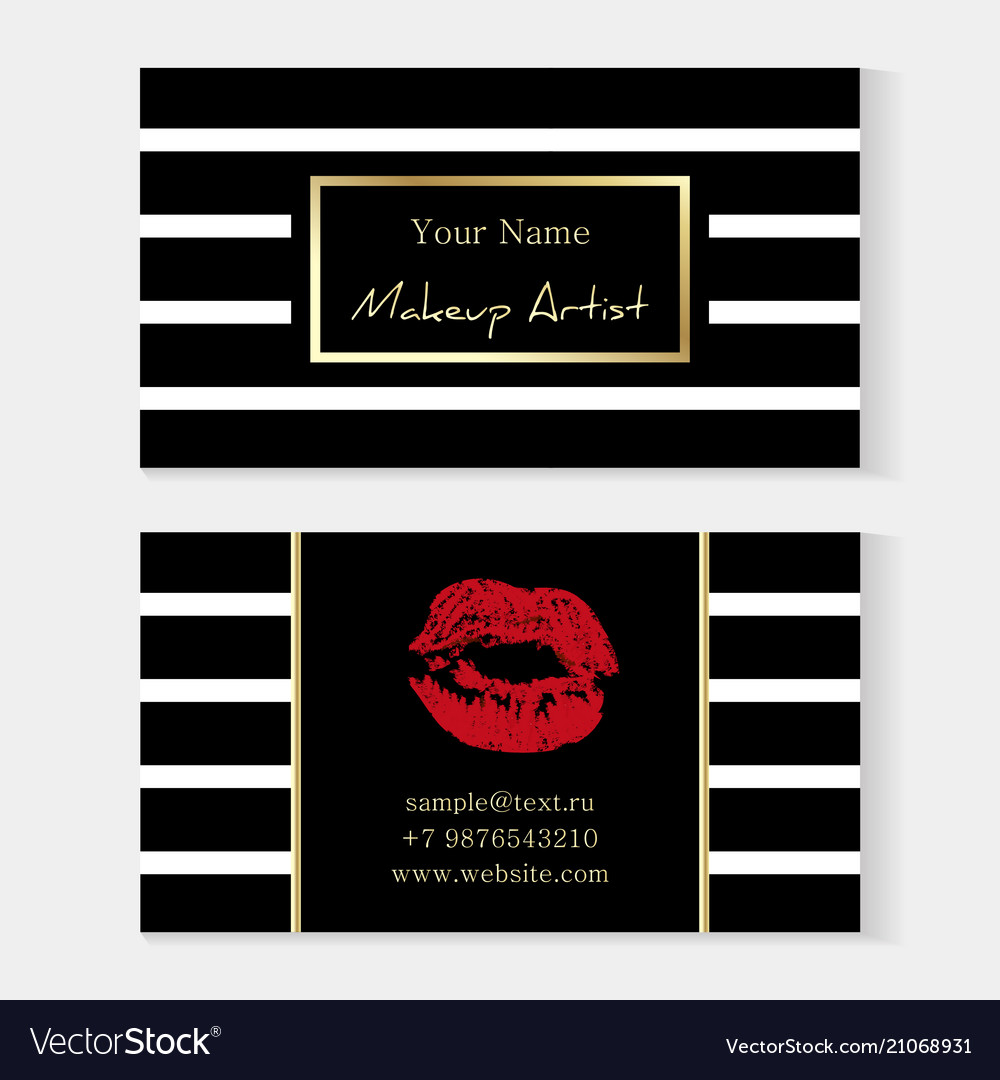 Makeup artist stylish business card artistic vector image colourmoves