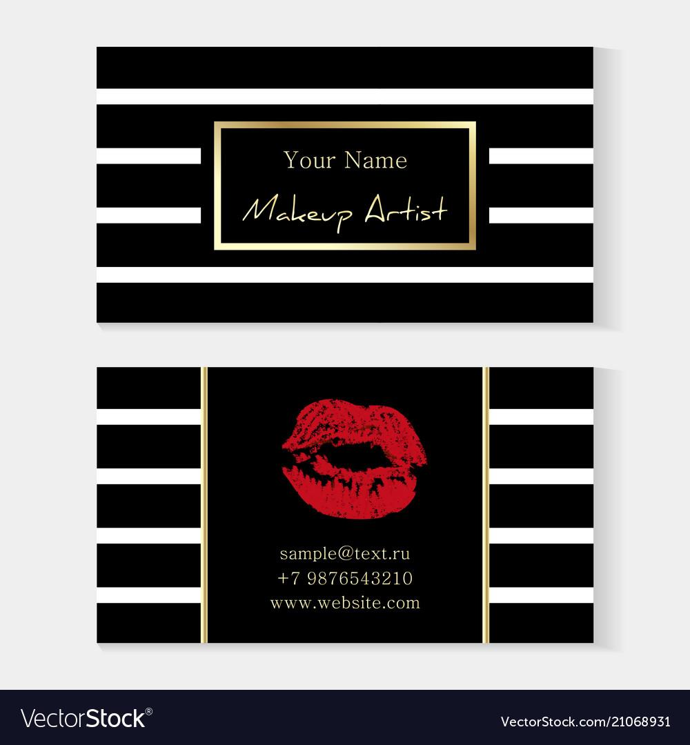 Makeup artist stylish business card artistic vector image colourmoves