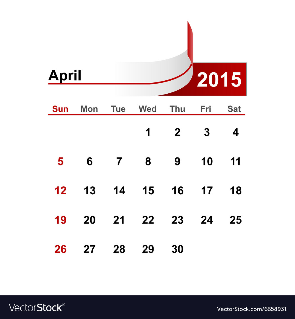 Simple calendar 2015 year april month