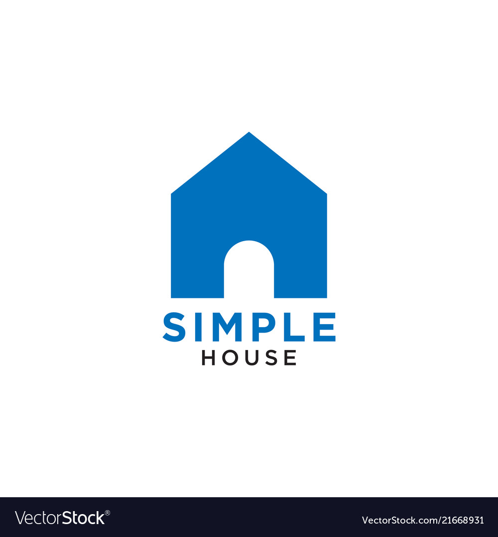 Simple elegant blue house icon design template