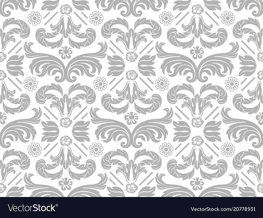 Wallpaper with silver damask pattern