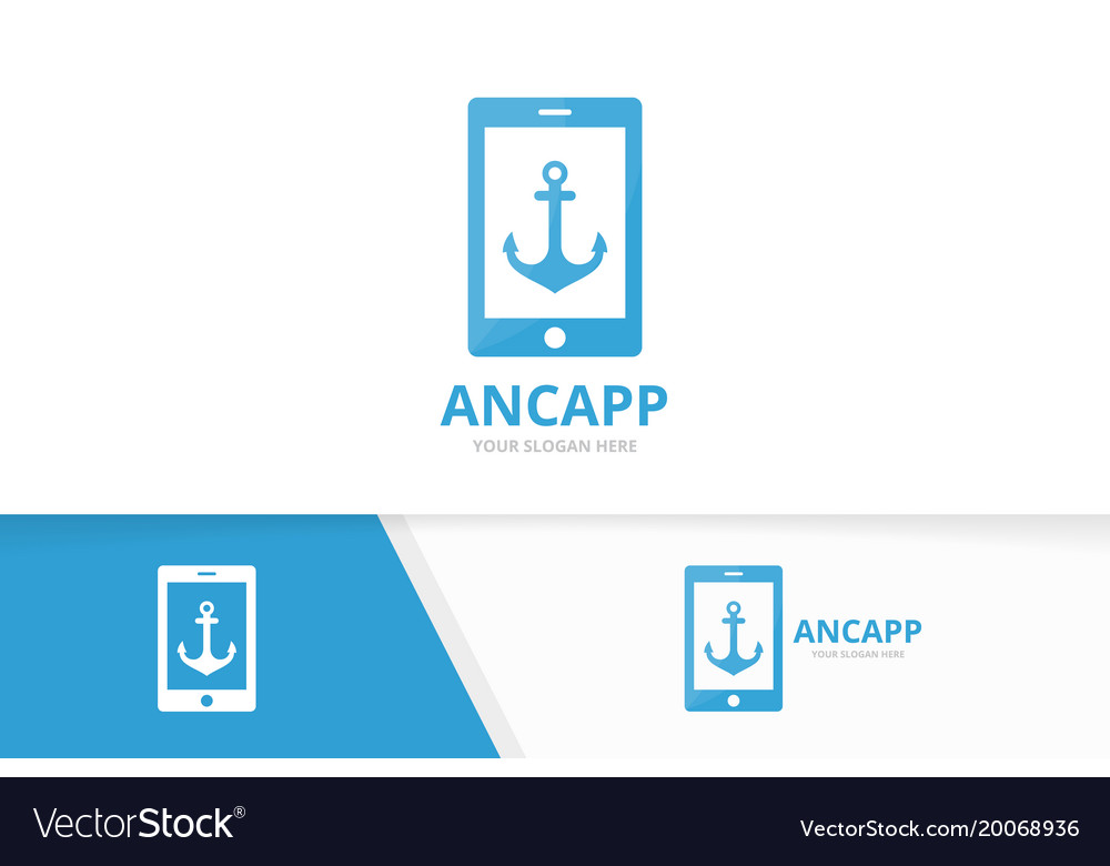 Anchor and phone logo combination marine