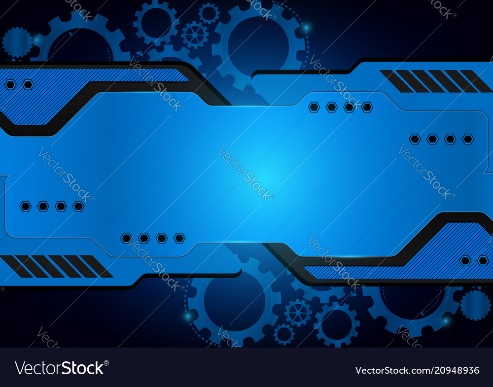 Blue technology gear abstract background