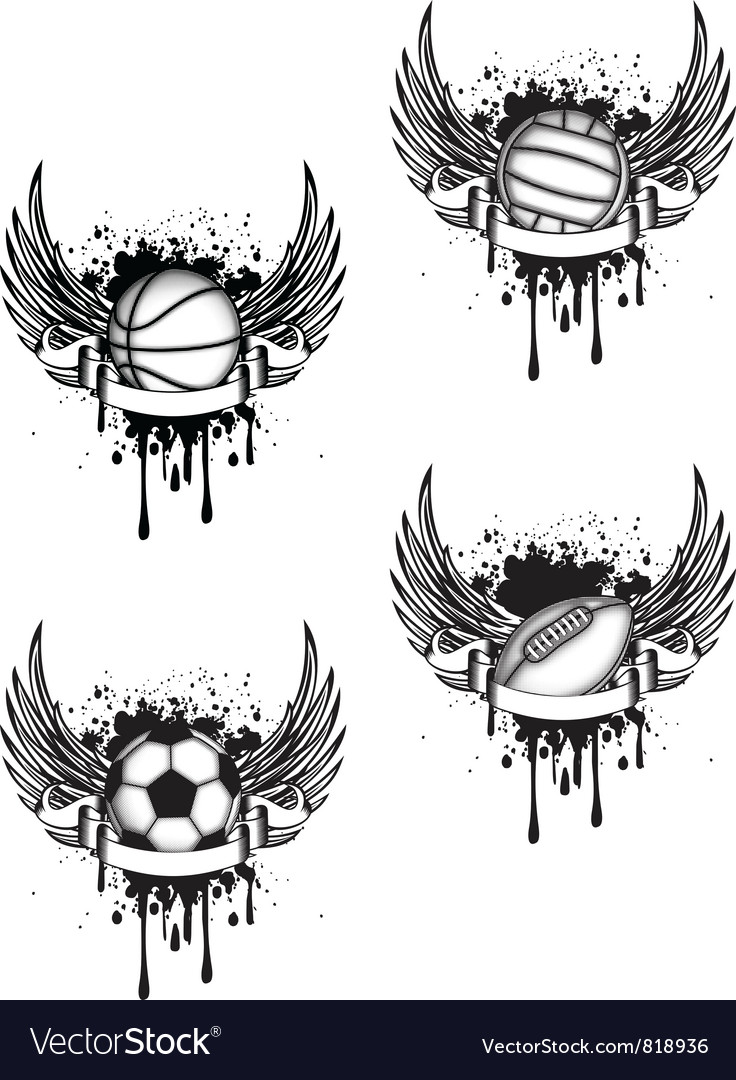 Boll with wings set vector image