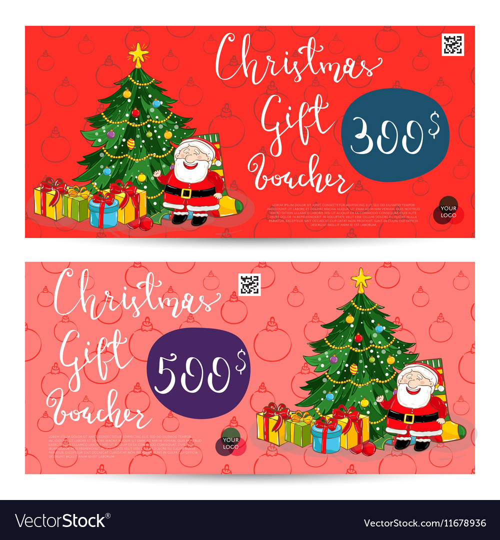 Christmas Gift Certificate Template.Christmas Gift Voucher With Prepaid Sum Template Vector Image On Vectorstock