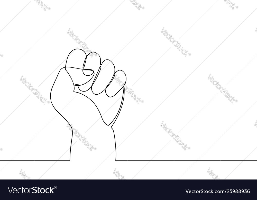 Continuous line drawing fist one line hand
