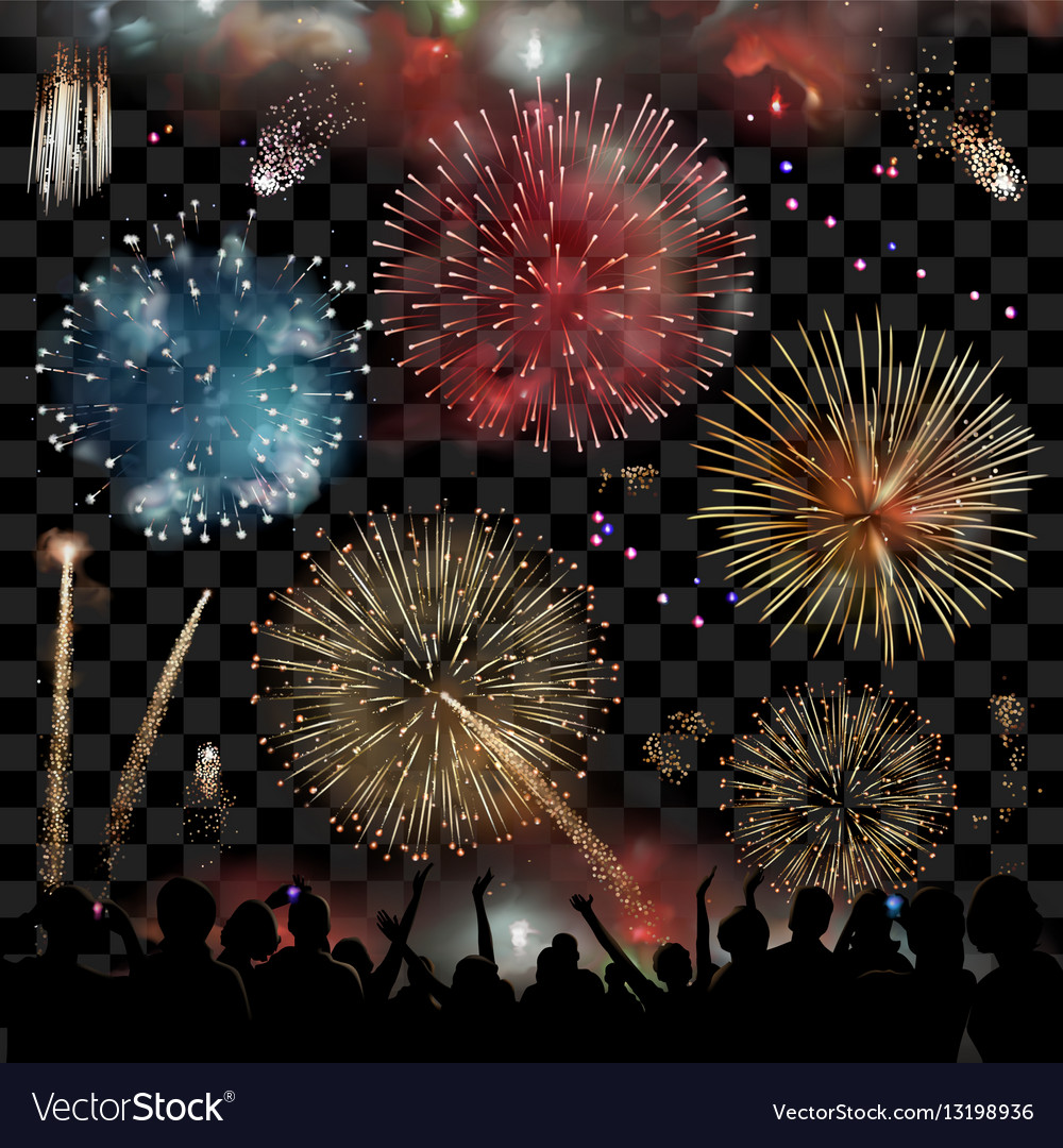 Holiday Celebration with fireworks show at night