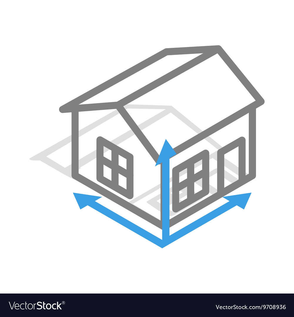 Genial House Drawing Icon Isometric 3d Style Vector Image