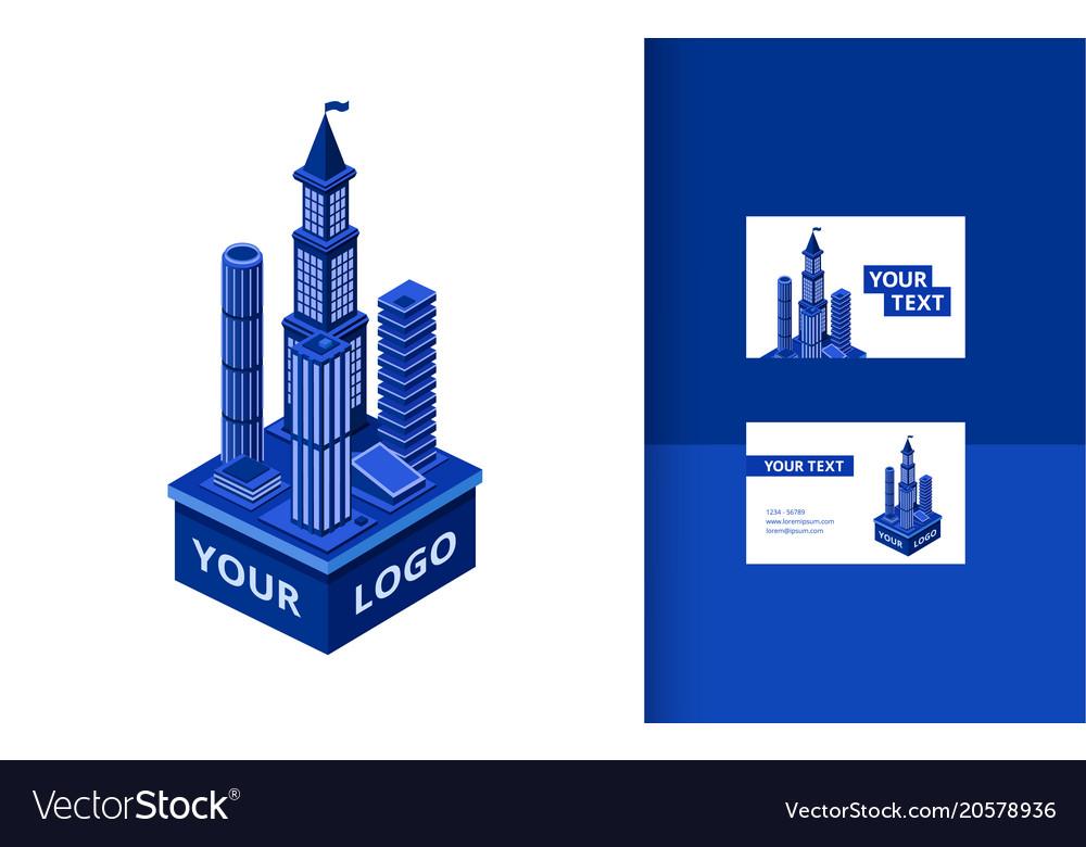 Isometric modern skyscraper banner set