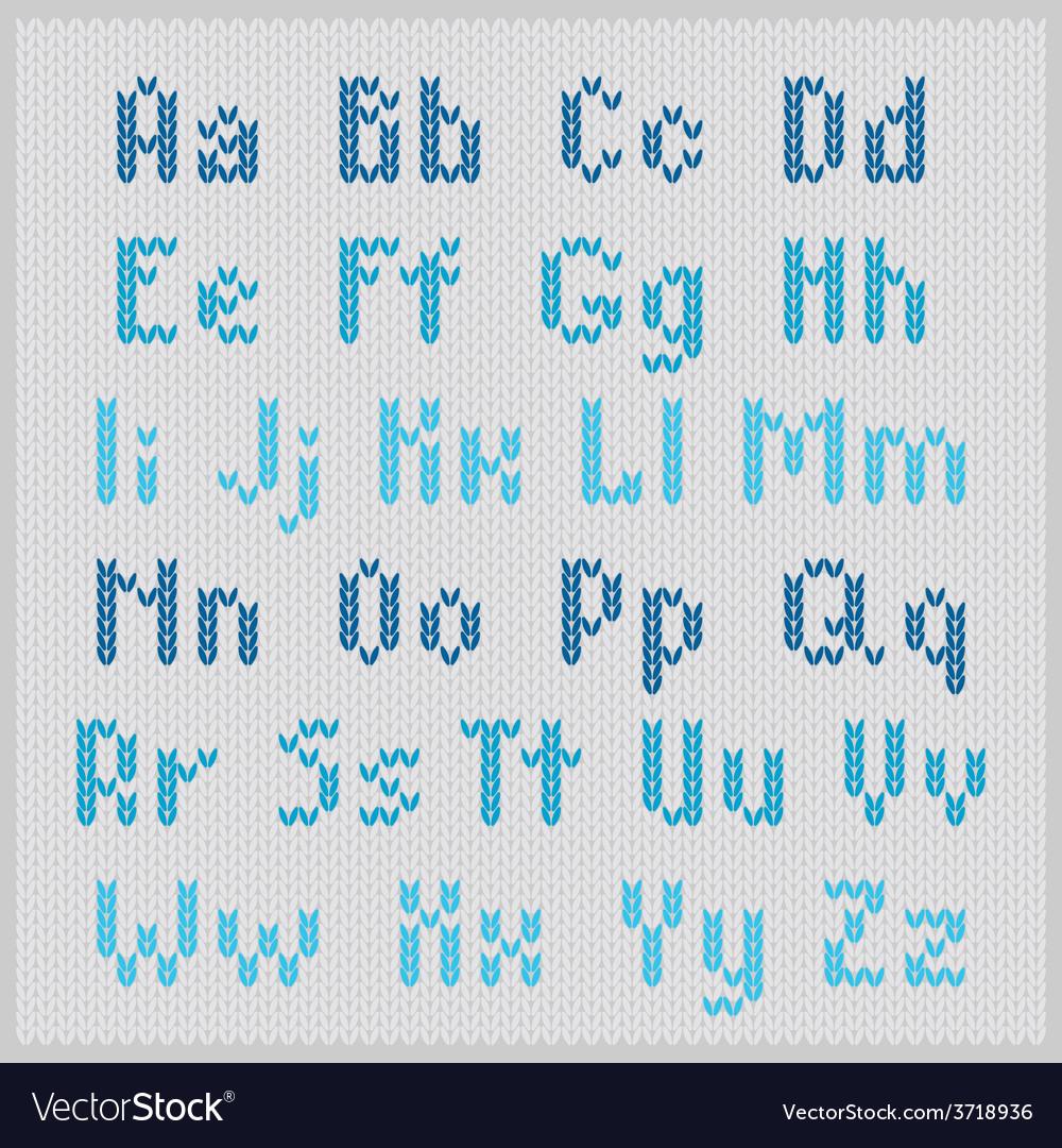 Knitted alphabet blue small sans serif