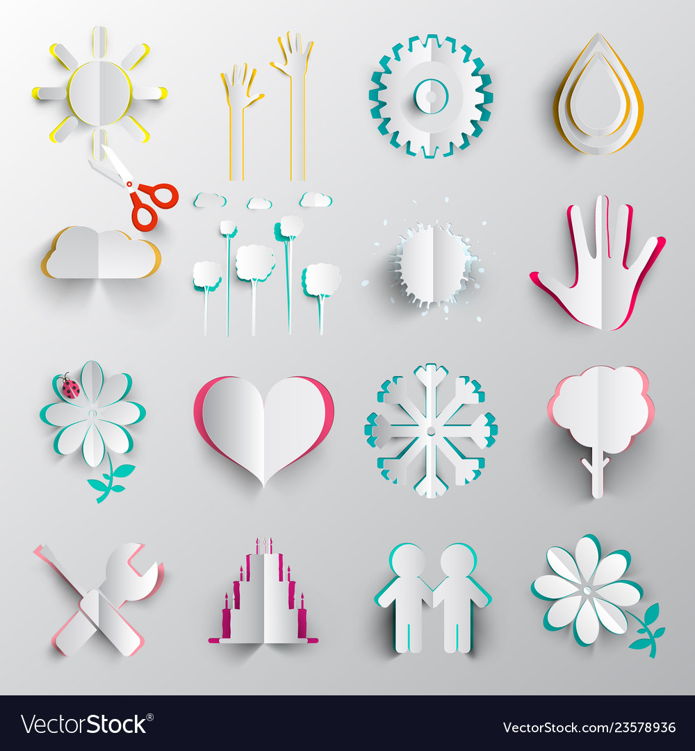 Paper cut symbols origami icons