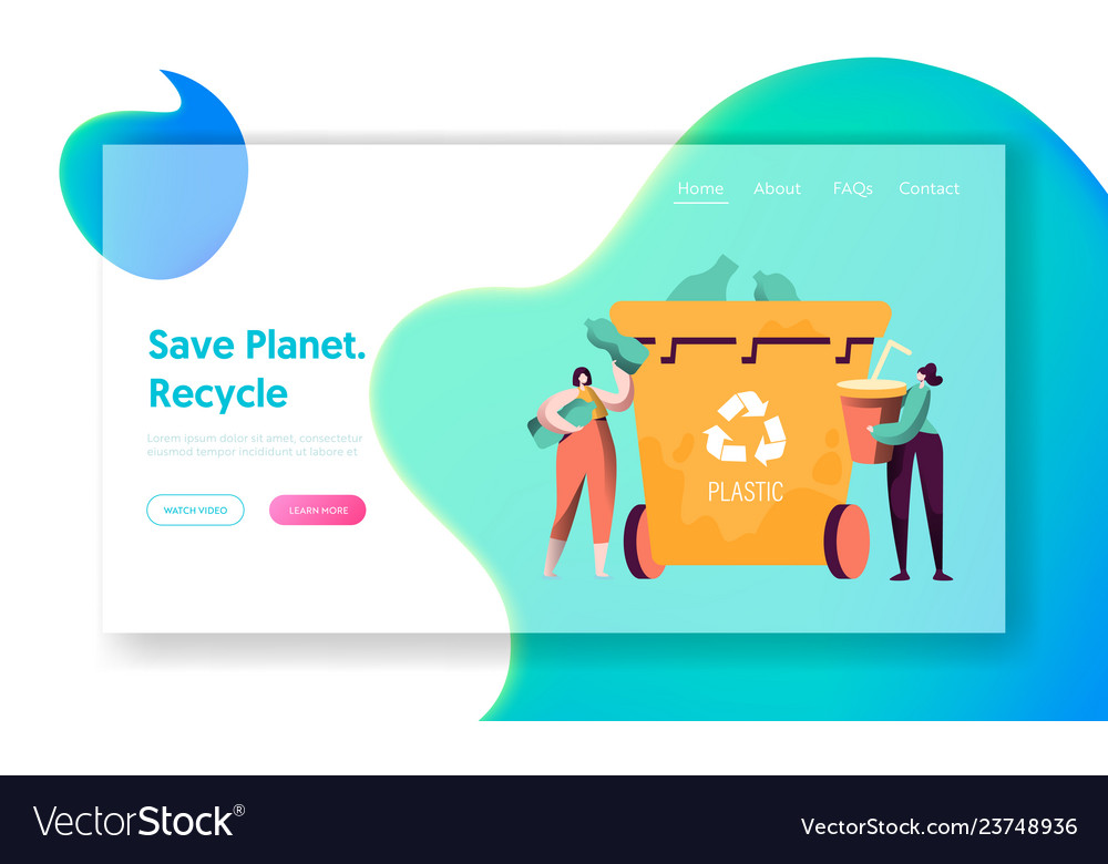 Recycle sort plastic rubbish landing page