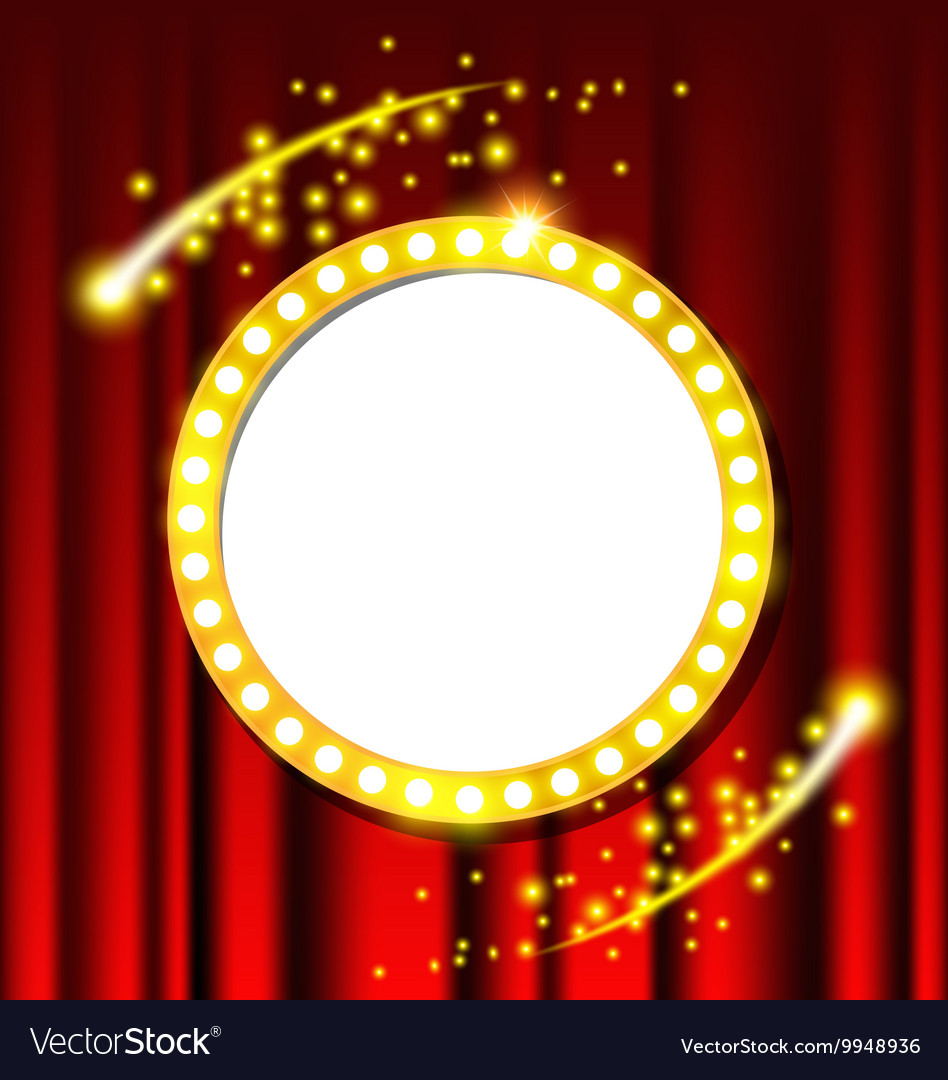 Retro light circle sign and red curtain