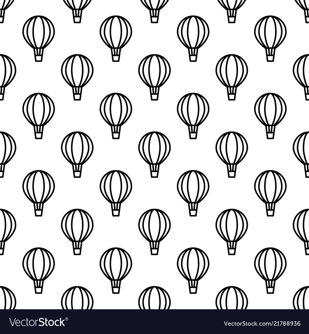 Seamless air balloon pattern monochrome
