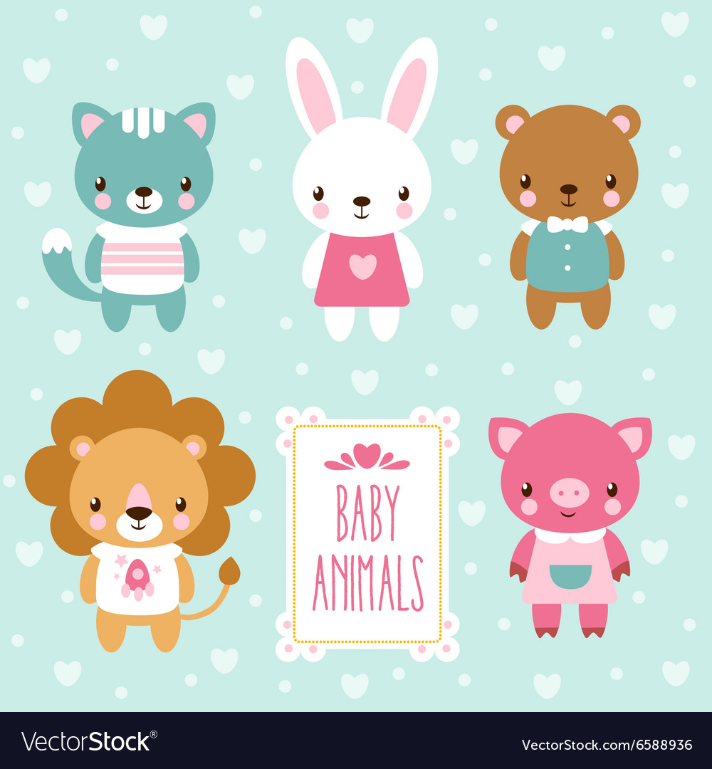 Set of cute baby animals